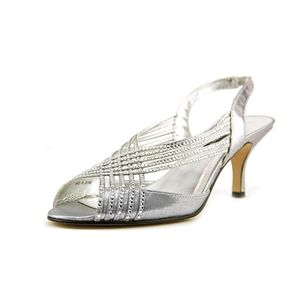 ⭐ Caparros Silver Jeweled Strappy Slingback Pumps